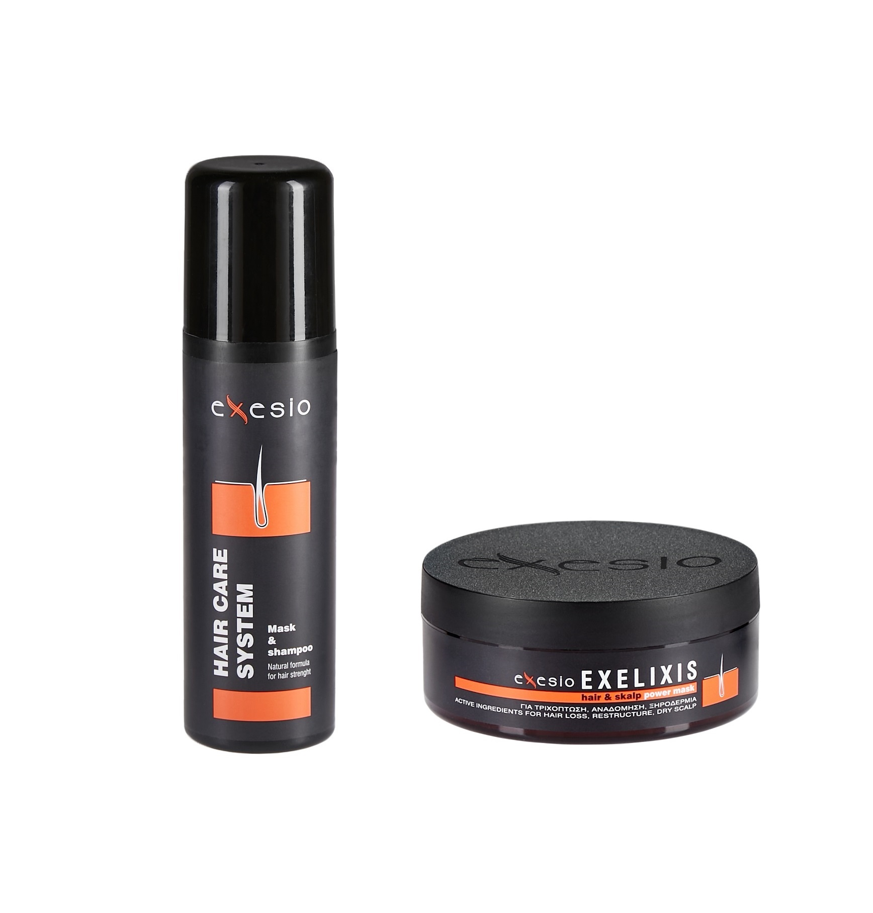3 Exesio Hair Shampoo 280 ml + 1 Exelixis Hair mask